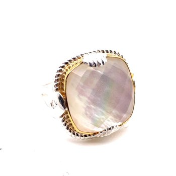 Go Big Or Go Home...With This Cushion Shape Mother of Pearl Quartz Ring