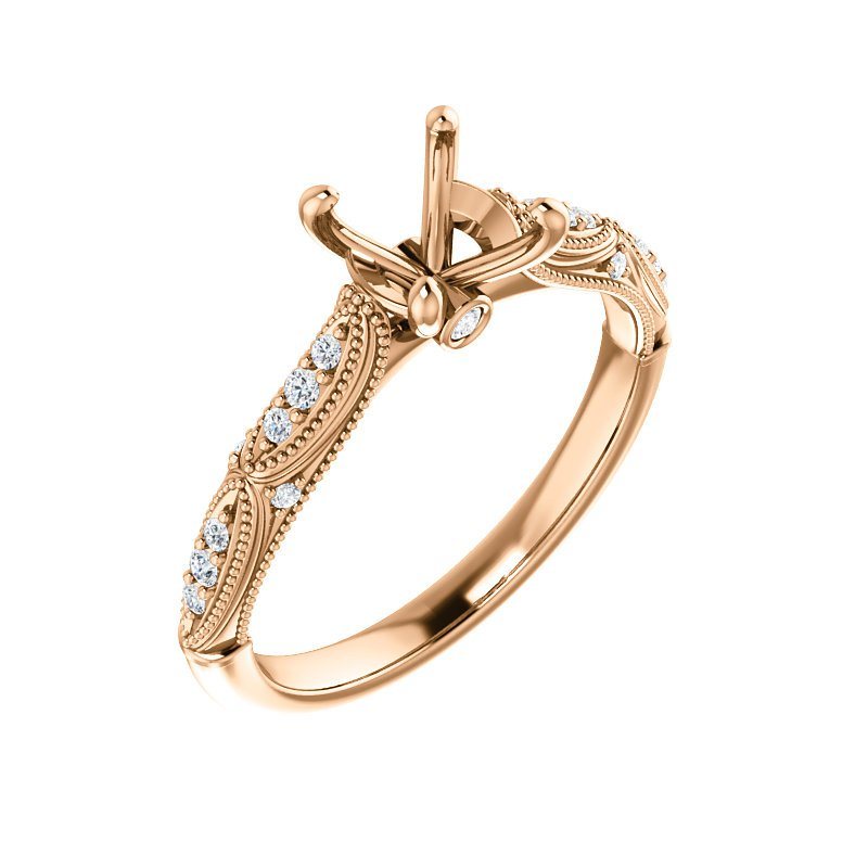 Rose Gold Millgrain and Vintage Detail Ring With Diamonds