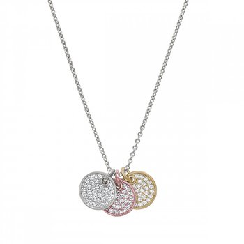 Tri-Color Three Pave Disc Pendant