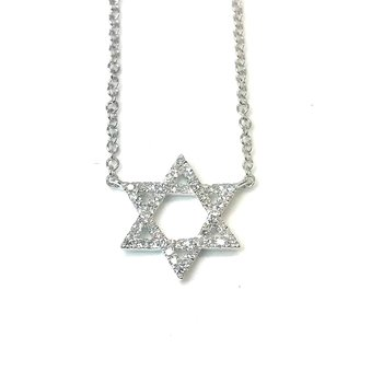 White 14 Karat Diamond set Star Of David Pendant