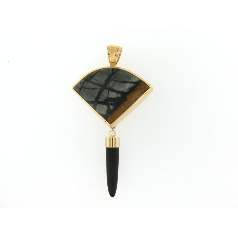 Patrick Murphy custom designed 14 Karat Picasso Pendant With Onyx