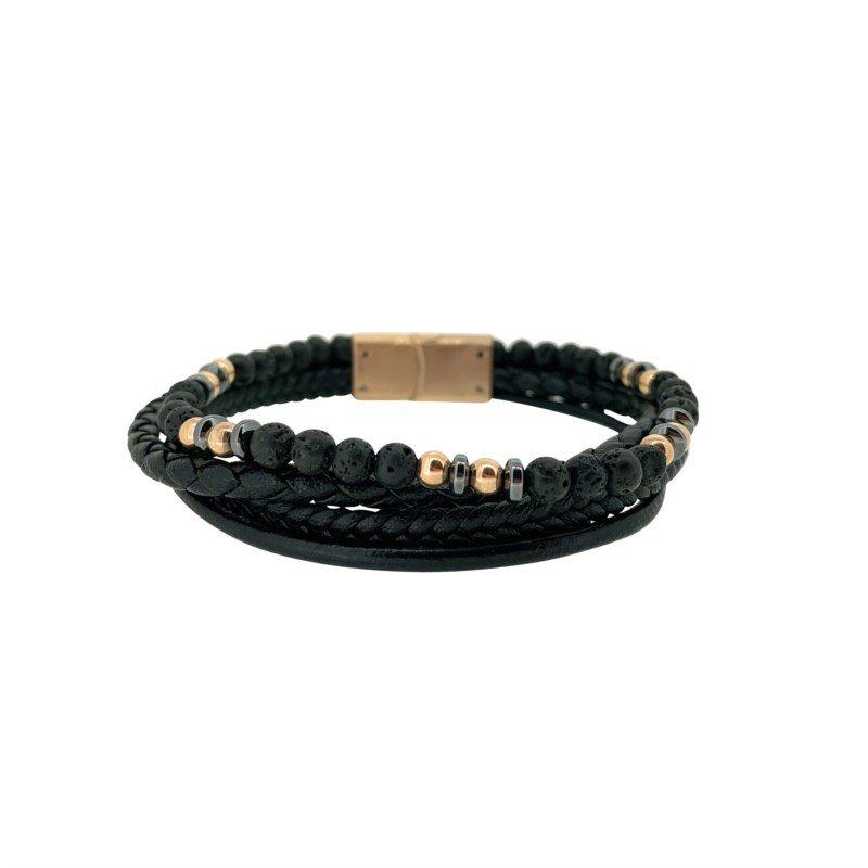 Black And Rose Leather, Silver 4 Cord Bracelet