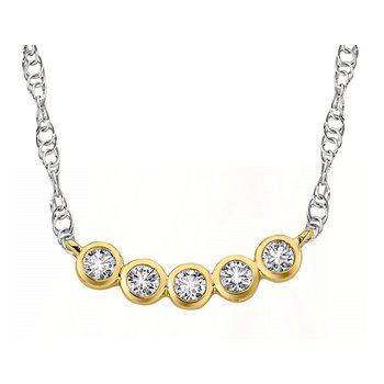 14 Karat 5 Diamond Bezel Pendant on Decorative Chain