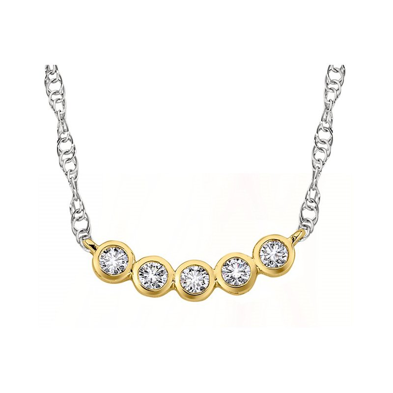 14 Karat 5 Diamond Bezel Pendant on Decorative Chain