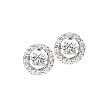 Stterling Silver Micropave Dancing Stone Studs Earrings