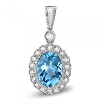 Millgrain Detail Bezel set Vibrant Blue Zircon And Diamond Pendant