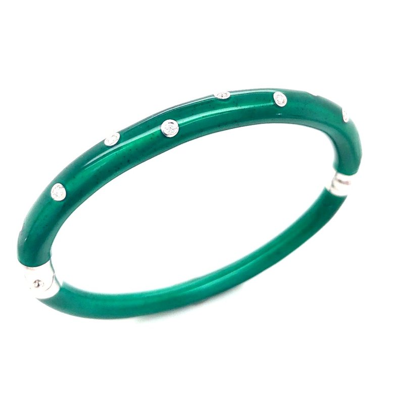 5 mm Sterling Silver and Green Enamel Bangle Bracelet Set With Diamonds