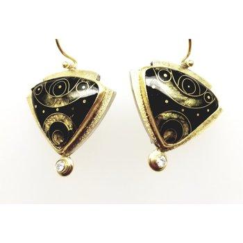 Designer 18/22 Karat/Sterling Black Enamel Earrings With Diamonds