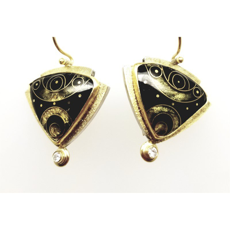 Designer 18/22 Karat/Sterling Black Enamel Earrings With Diamonds