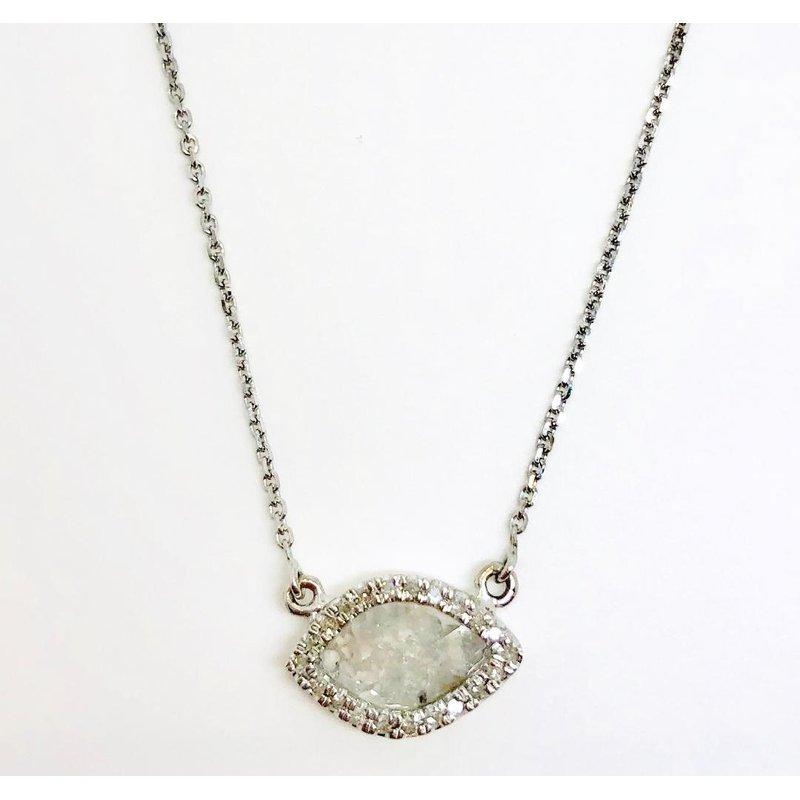 14 Karat Rose cut Diamond Slice Pendant with a a halo of Round Diamonds