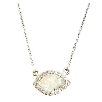 14 Karat Rose cut Diamond Slice Pendant with a a halo of Round Diamonds