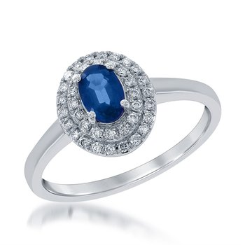 14 Karat White Gold Double Diamond Halo Ring Set With An Oval Sapphire