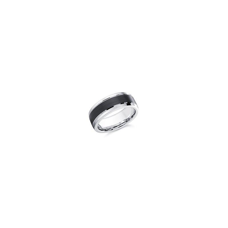 8mm Black and White Cobalt Ring