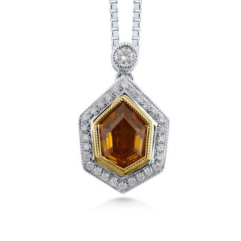 18 Karat Natural Fancy Color Diamond Pendant