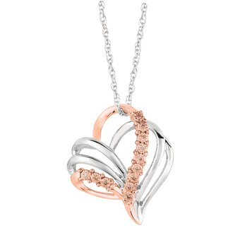 Silver Pendant with Rose Gold and Diamonds