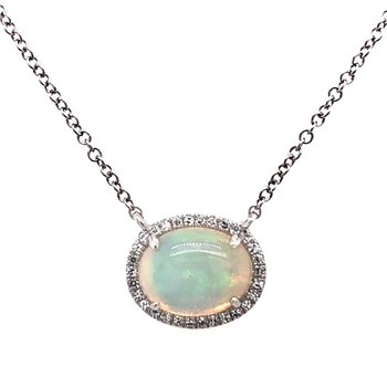14 Karat White Gold Opal and Diamond Pendant