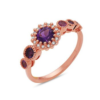 Bespoke 14 Karat Rose Gold Amethyst and Pink Sapphire and Diamond Ring