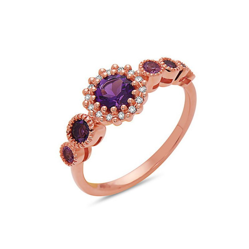 Bespoke 14 Karat Rose Gold Amethyst and Pink Sapphire and Diamond Ring