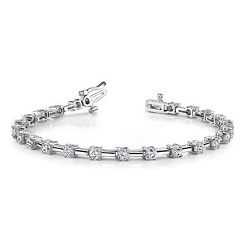 Fancy 14 Karat Bracelet with Alternating Diamonds and Bars