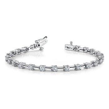 Fancy 14 Karat Bracelet with Alternating Diamonds and Bars