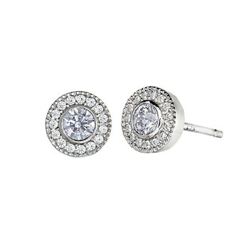 Sterling Silver Micropave Studs Earrings