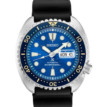 Blue and Black Stainless Steel Seiko Automatic Watch