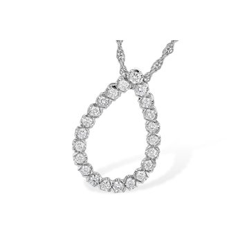 14 Karat Pear Shape Pendant With Round Diamonds