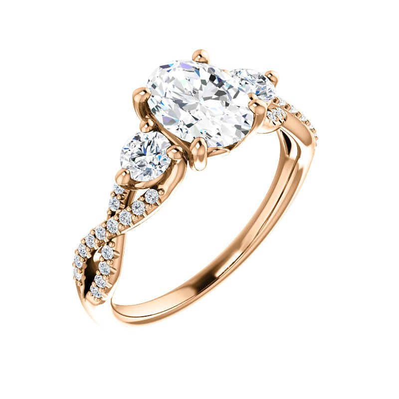 Yellow Gold Infinity Twist Detail Ring With Diamonds