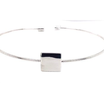 White Sterling Silver Square Station Cuff Bracelet, Engraveable