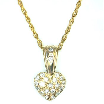 14kt Yellow Gold Diamond Pave Heart Pendant