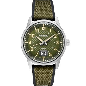 Green Stainless Steel Seiko Quartz Watch