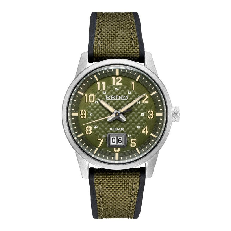 Green Stainless Steel Seiko Quartz Watch