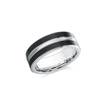 8mm Black and White Cobalt Ring