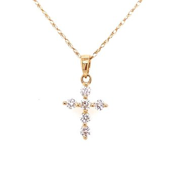 Petite Diamond Cross in Yellow Gold