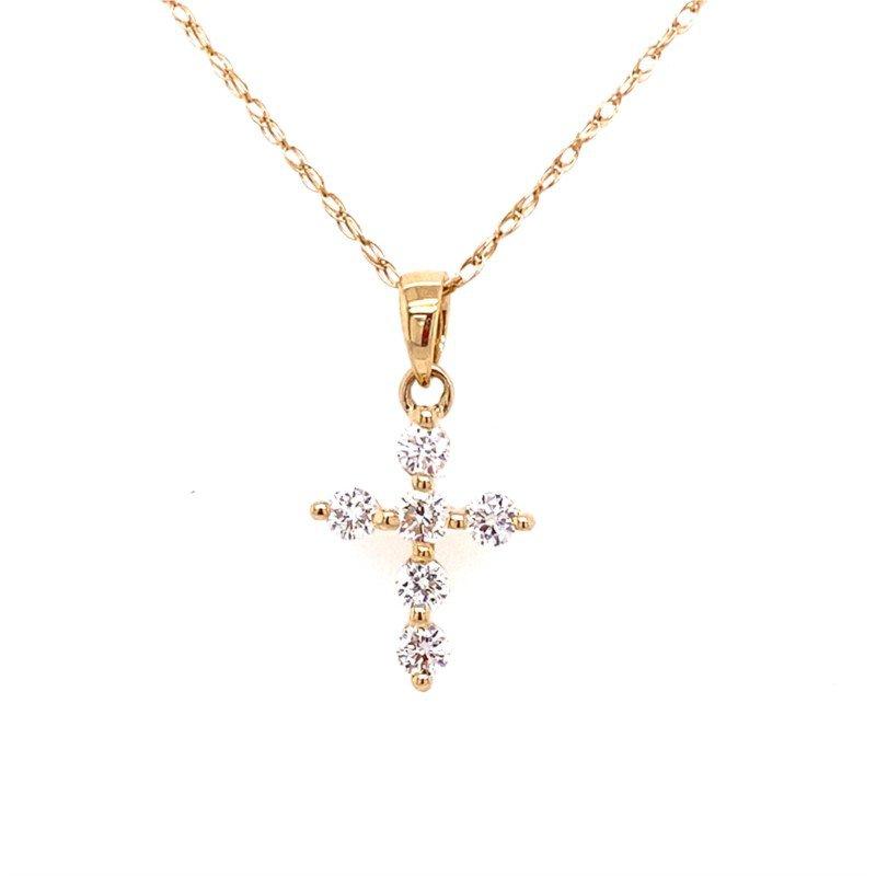 Petite Diamond Cross in Yellow Gold