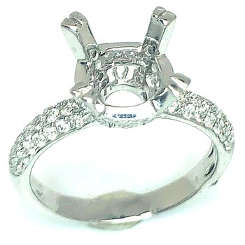 18 Karat Pave Diamond Mounting with Diamond Set Head