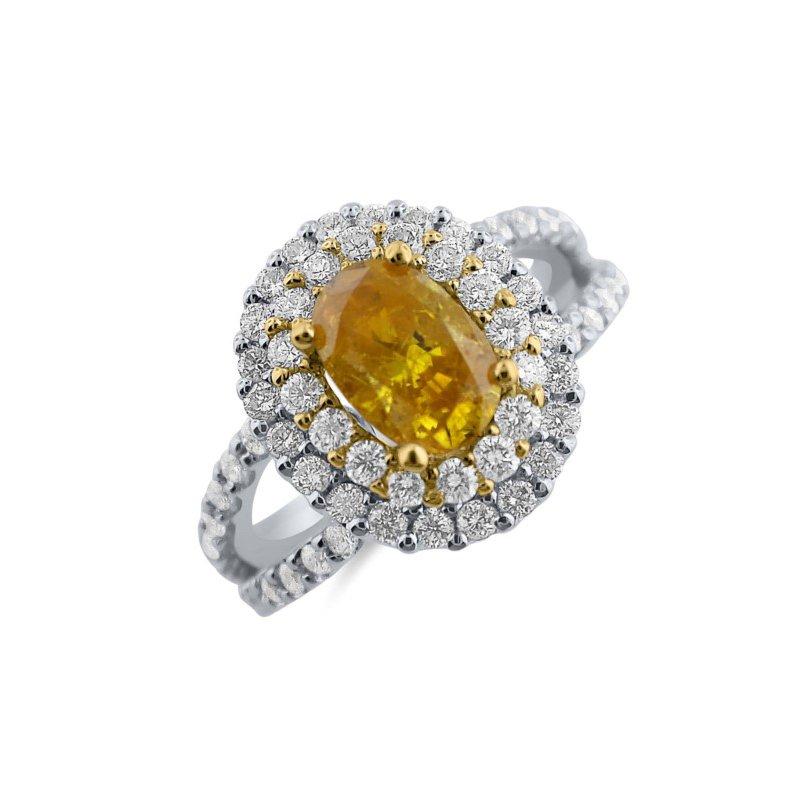Vivid Orange Yellow Oval Diamond Halo Engagement Ring