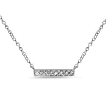 White Gold Diamond Bar Pendant