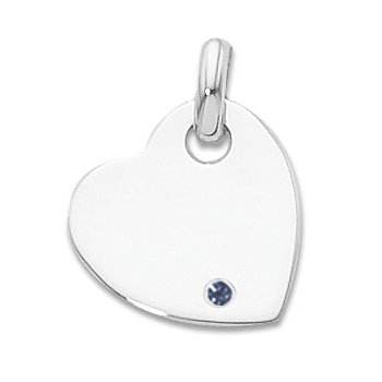 Sterling Silver Heart Charm With Immitation Sapphire