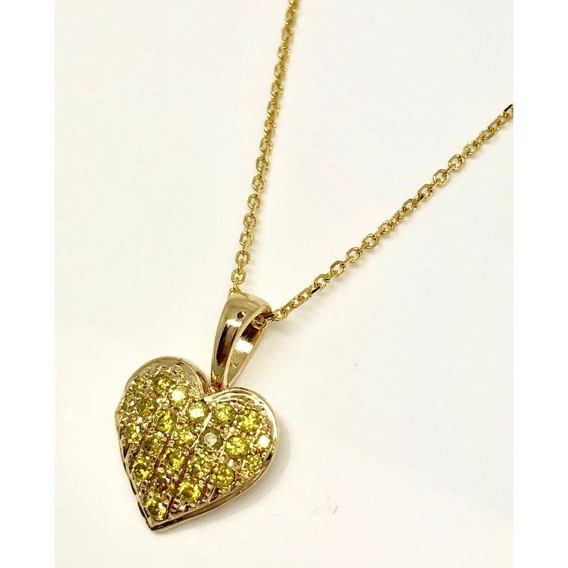 Fancy Yellow Diamond Pave Heart Pendant