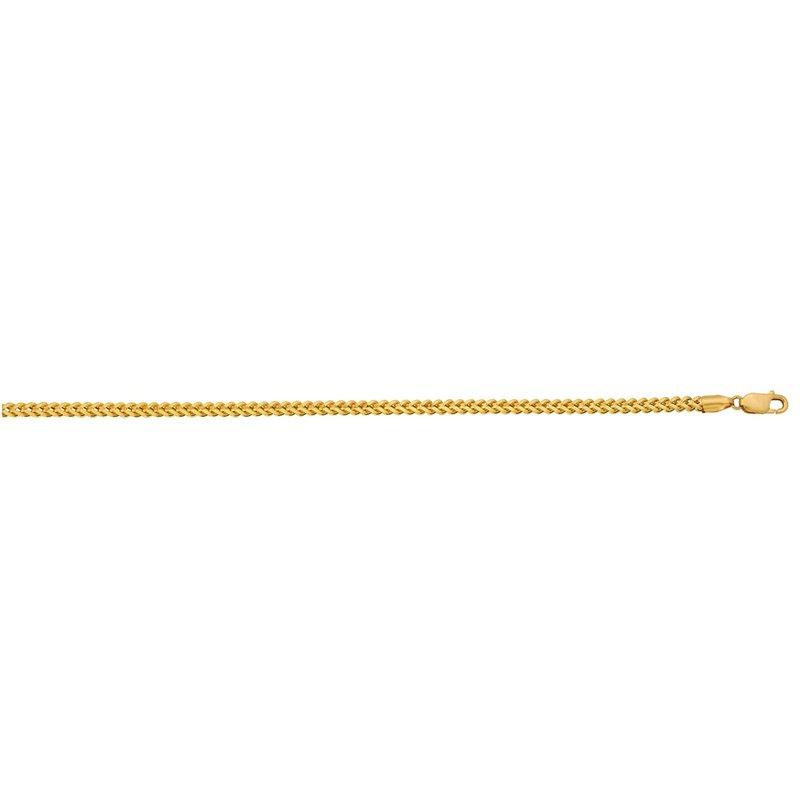 Yellow Diamond Cut 10 Karat Square Franco Necklace: Length 26 inches