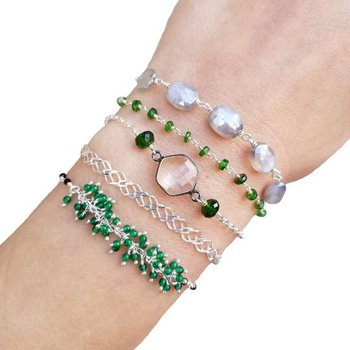 Sterling Silver Wrap Bracelet or Necklace With Gemstones. You Choose YOUR Style!