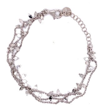 Sterling Silver Multi Strand Falling Leaves Bracelet