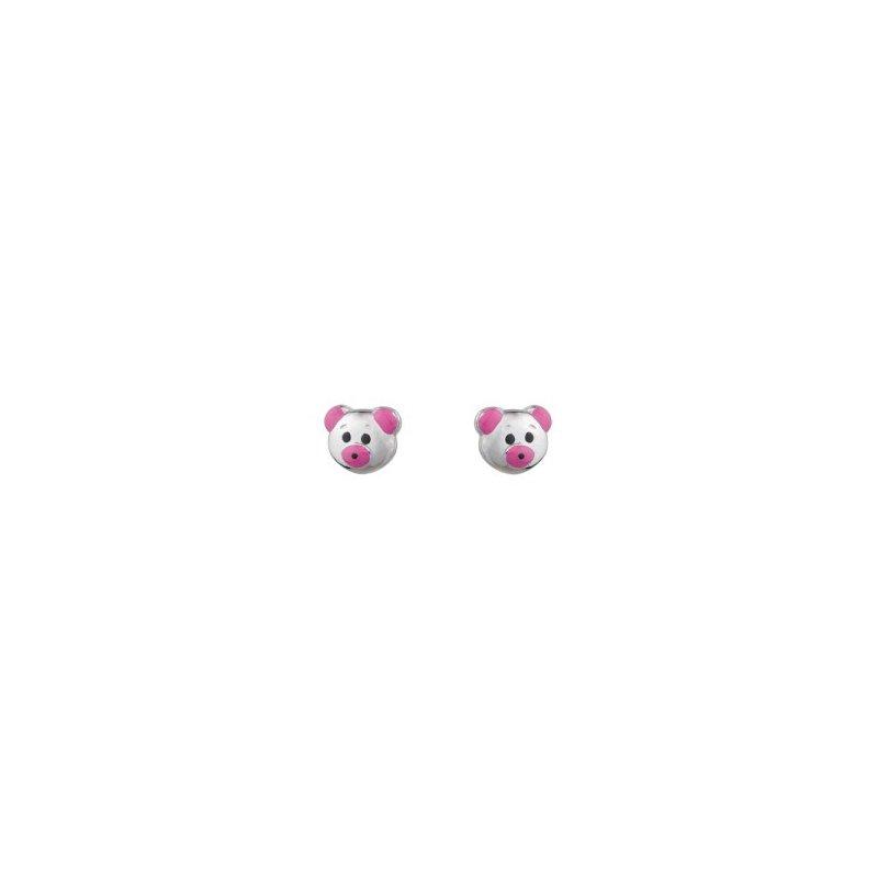 Sterling Silver Pink Enamel Bears Earrings