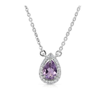 Sterling Silver Pear Shaped Amethyst and White Topaz Pendant