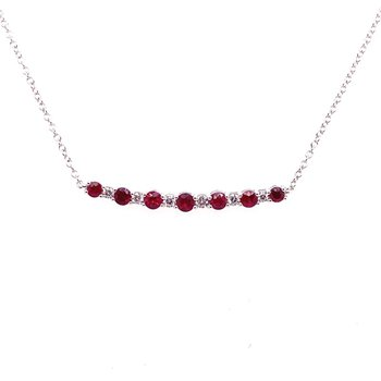 Ruby and Diamond Curved Bar Necklace