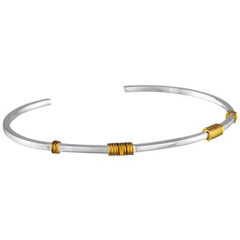 White and Yellow Sterling Silver Bangle Bracelet