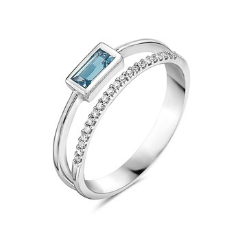 Petite London Blue Topaz and Diamond Ring