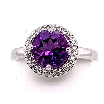 14kt White Gold Amethyst HaloRing