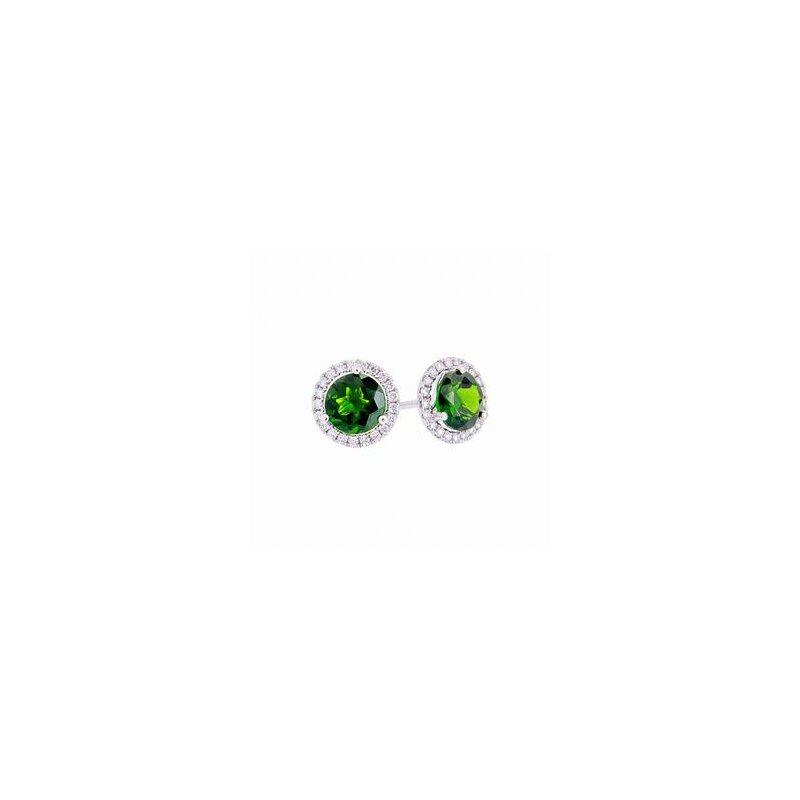 Diamond Halo Earrings with Green Zircon